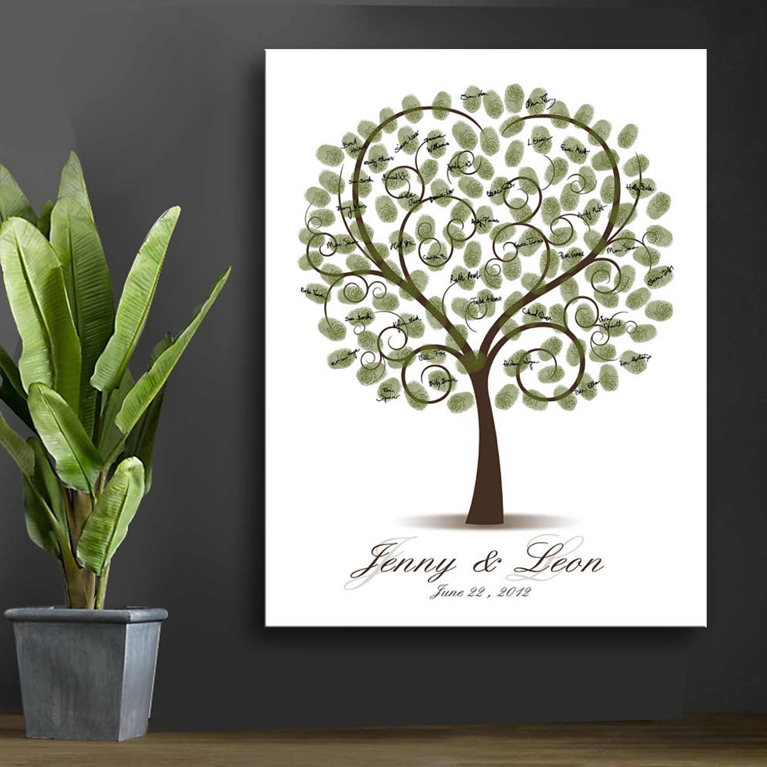 Wedding Guest Book Personalized Wedding Gifts for Guests Lovebird Fingerprint Tree Painting Party Decor livre d'or mariage