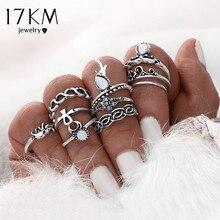 17KM 10pcsSet Gold Color Flower Midi Ring Sets for Women Silver Color Boho Beach Vintage Turkish Punk Elephant Knuckle Ring