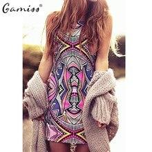 Gamiss  Summer Style Women New Fashion Vintage Geometric Print Mini Boho Dress Sexy Casual Party Beach Dresses Plus Size