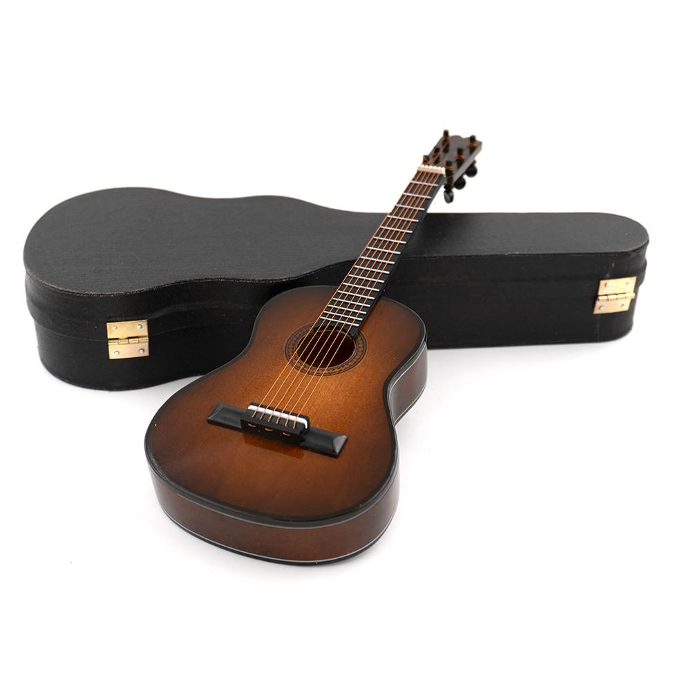 Braune Miniatur Holz Gitarre Mini Musikinstrument