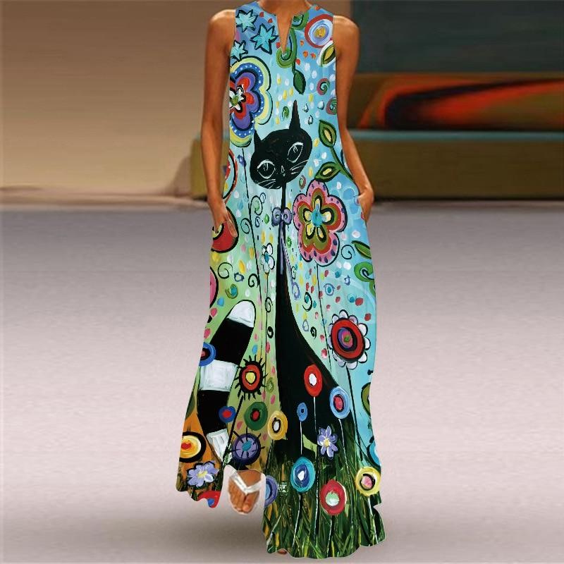 New Fashion Print Summer Dress Casual Sexy Boho Beach Dresses Women Party Dress V-neck Sleeveless Pocket Plus Size Long Dress