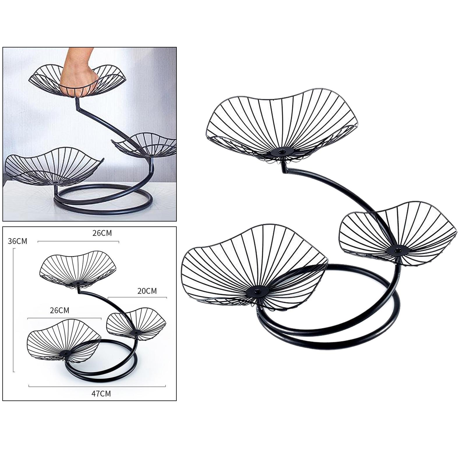 Metal Wire Fruit Basket Minimalist Iron Fruit Bowls Sanck Candy Bread Holder, 3 Tier