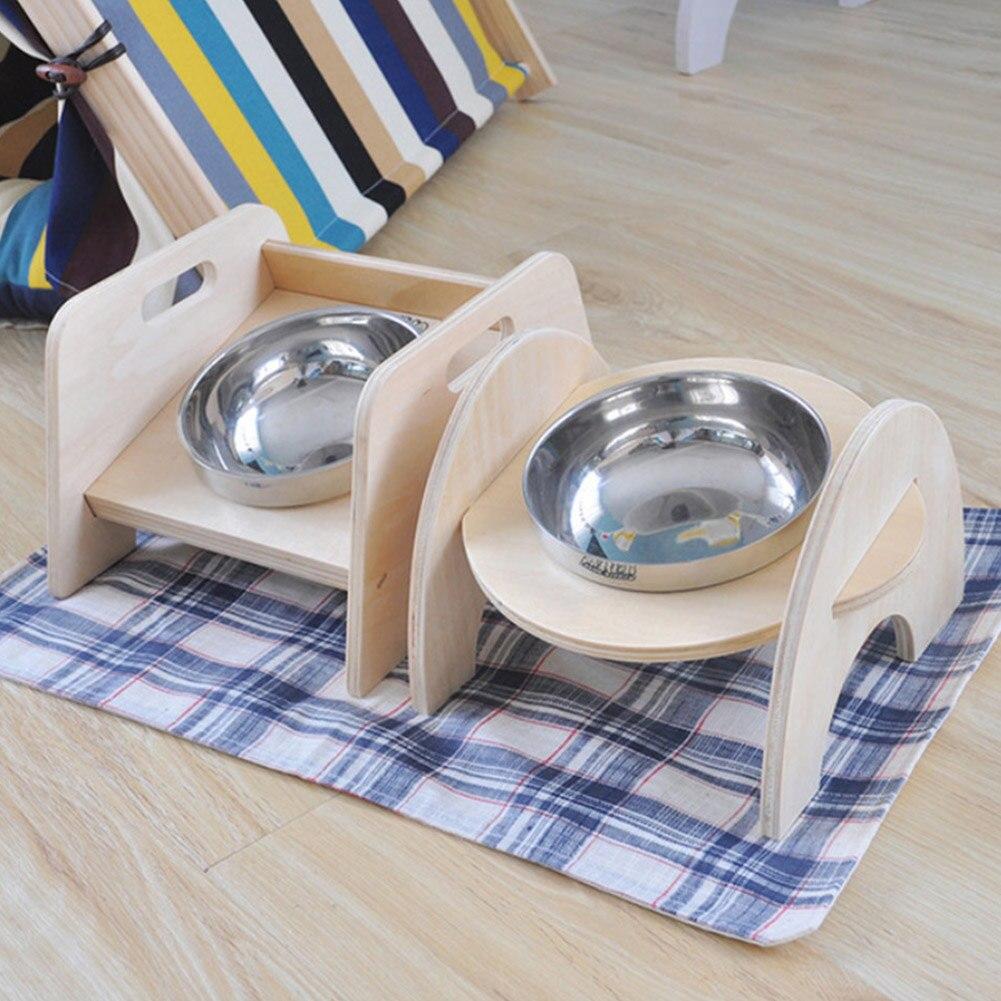 madeira carrinho cachorro gato prato aço inoxidável suporte alimentos l23
