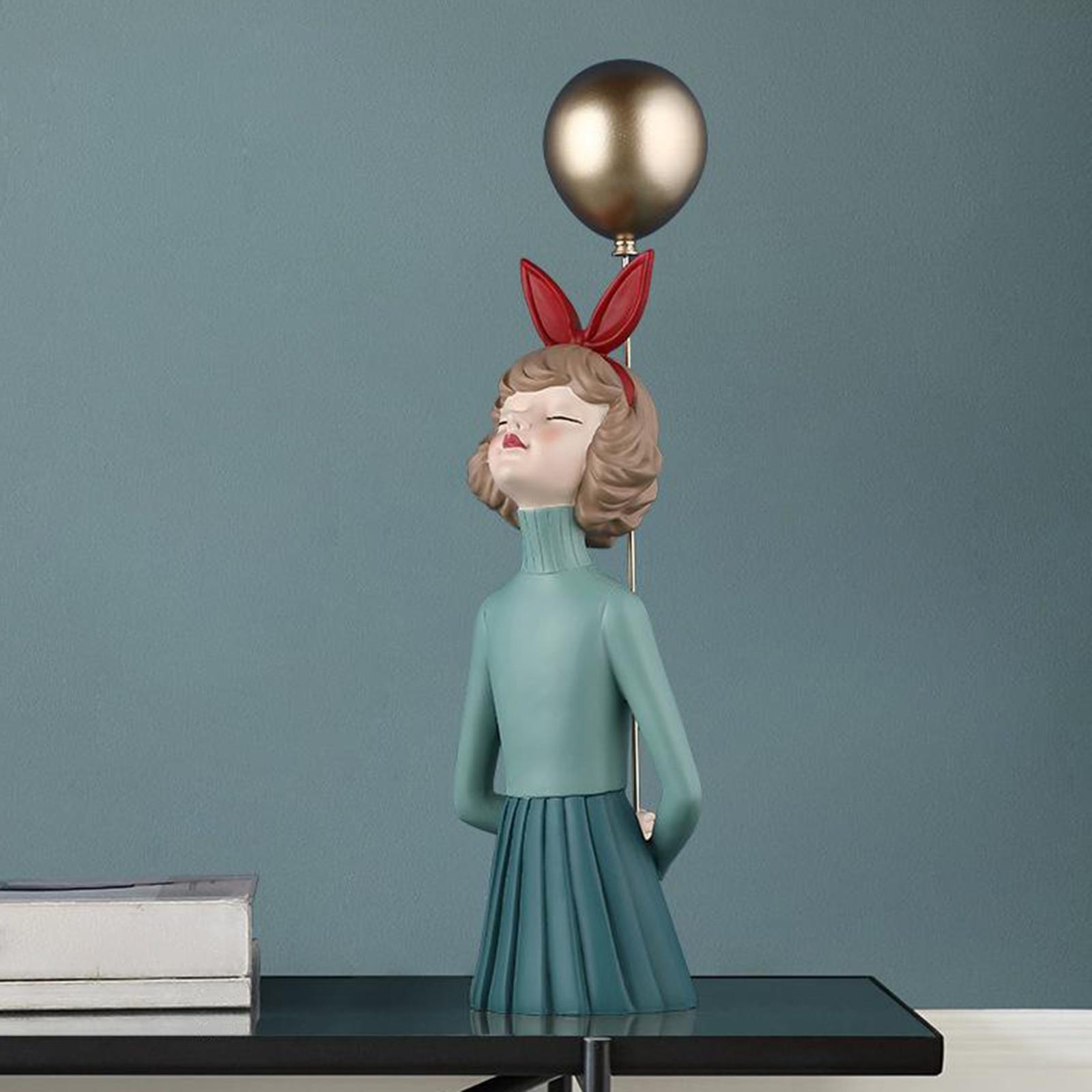 Resina menina moderna estatueta desktop ornamento prateleira