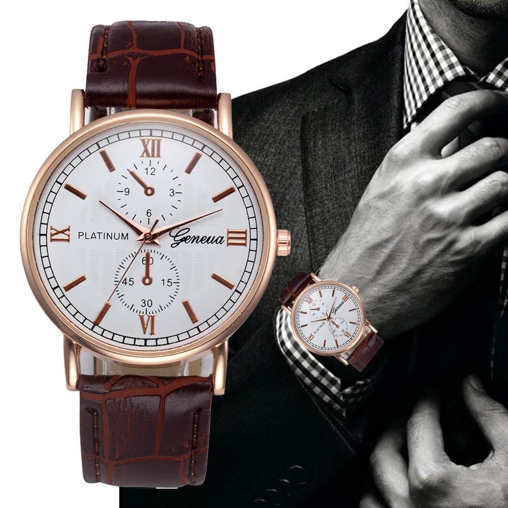 Brown Leather Beautiful Quartz Movement  Men Watch 2021
