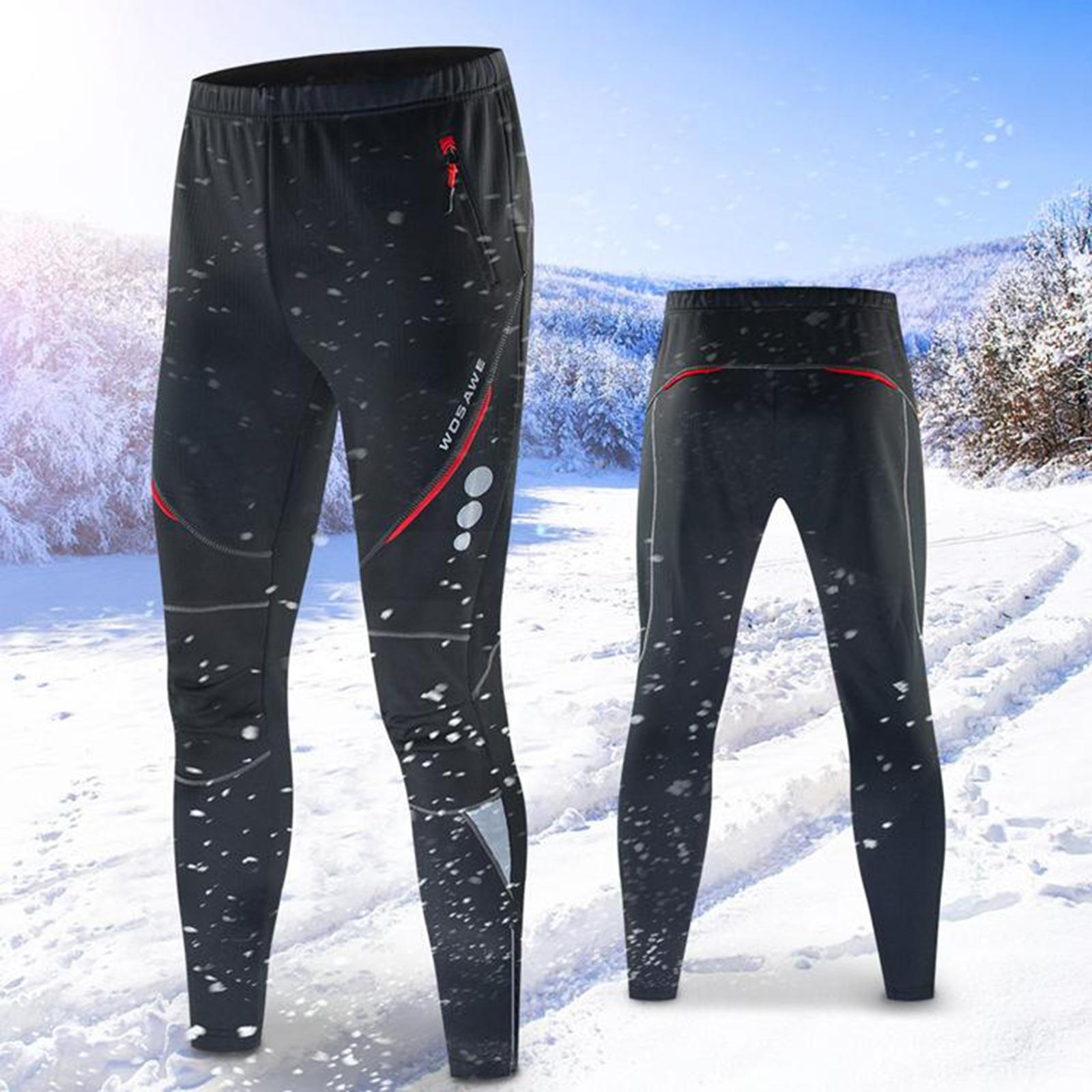 Winter Fleece Thermal Cycling Pants Waterproof Trousers Bike Windproof Warm Mens