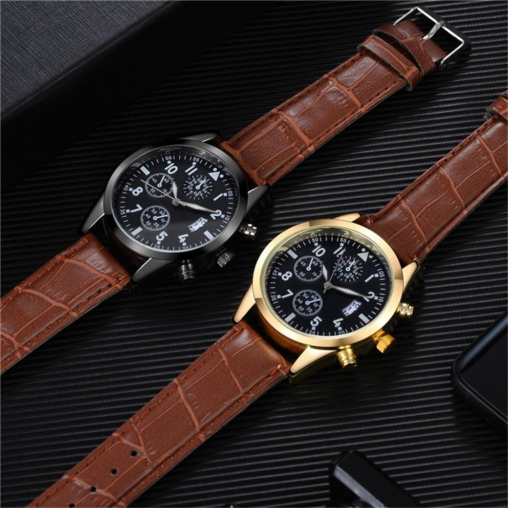 Leather Mens Quartz  Sport watch  Gorgeous Design 2021