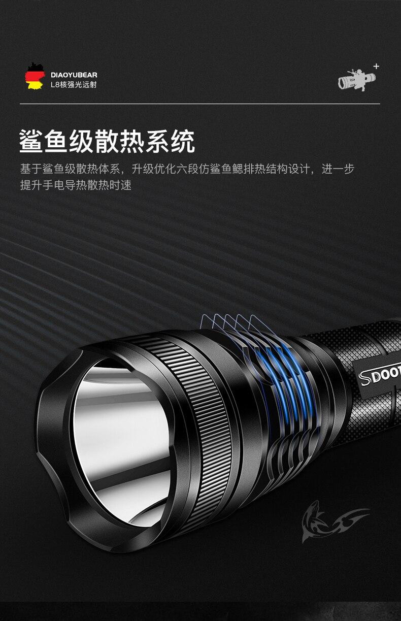 longa distância rápida poderosa lanterna recarregável luz