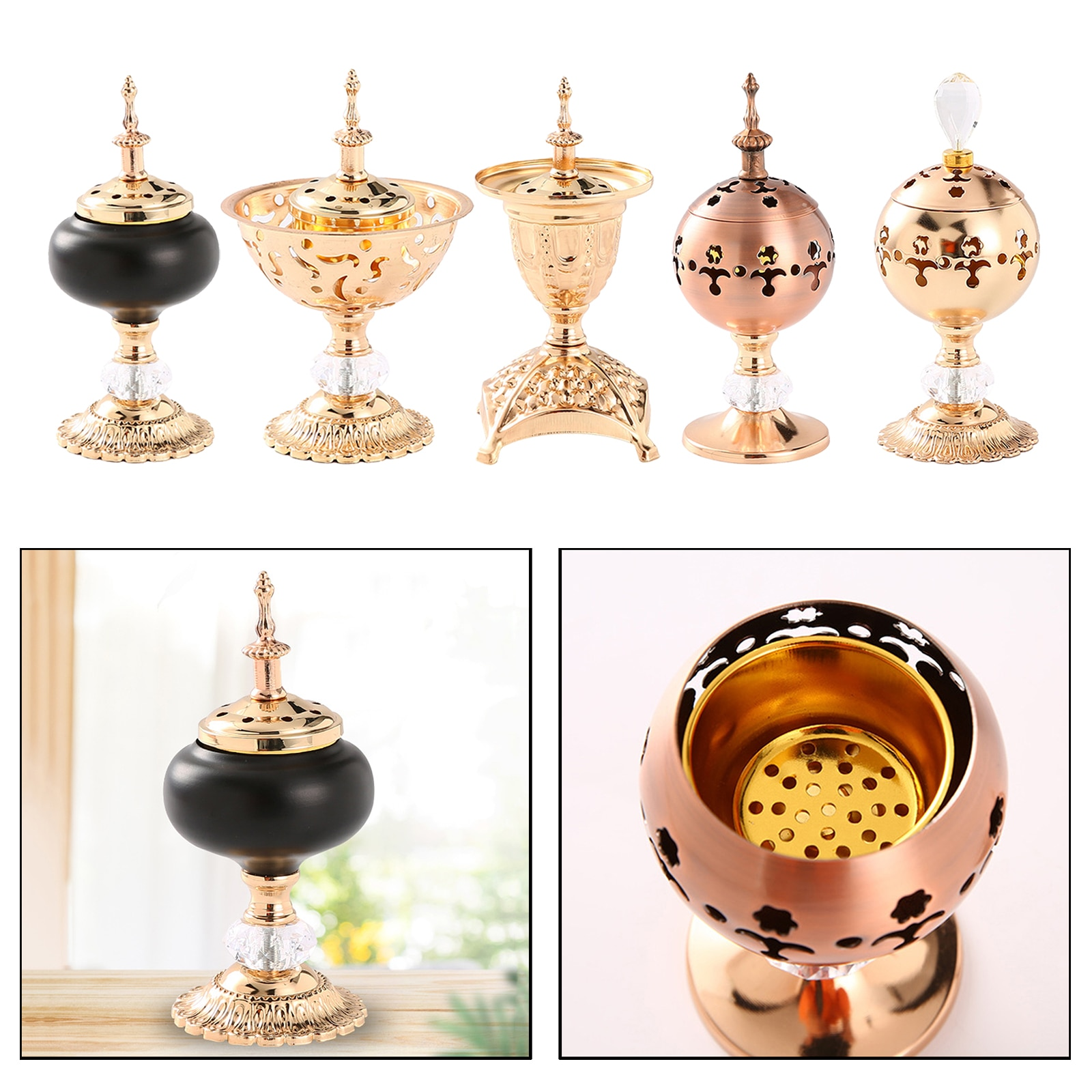 Simple And Hollow Design Incense Burners Censer Holder with Lid for Tea House Yoga Studio Decoration