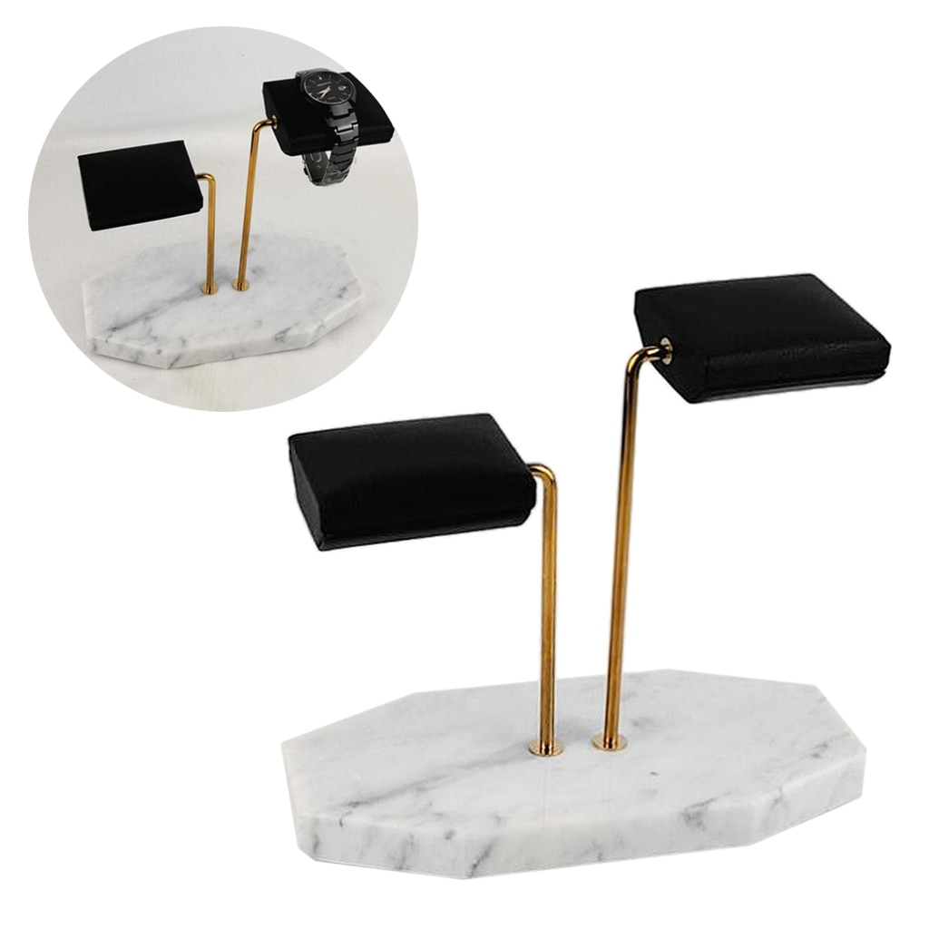 Luxury Watch Jewelry Display Stand Sturdy Marble Base Holder Stand, Material: Marble, Metal, PU Leather