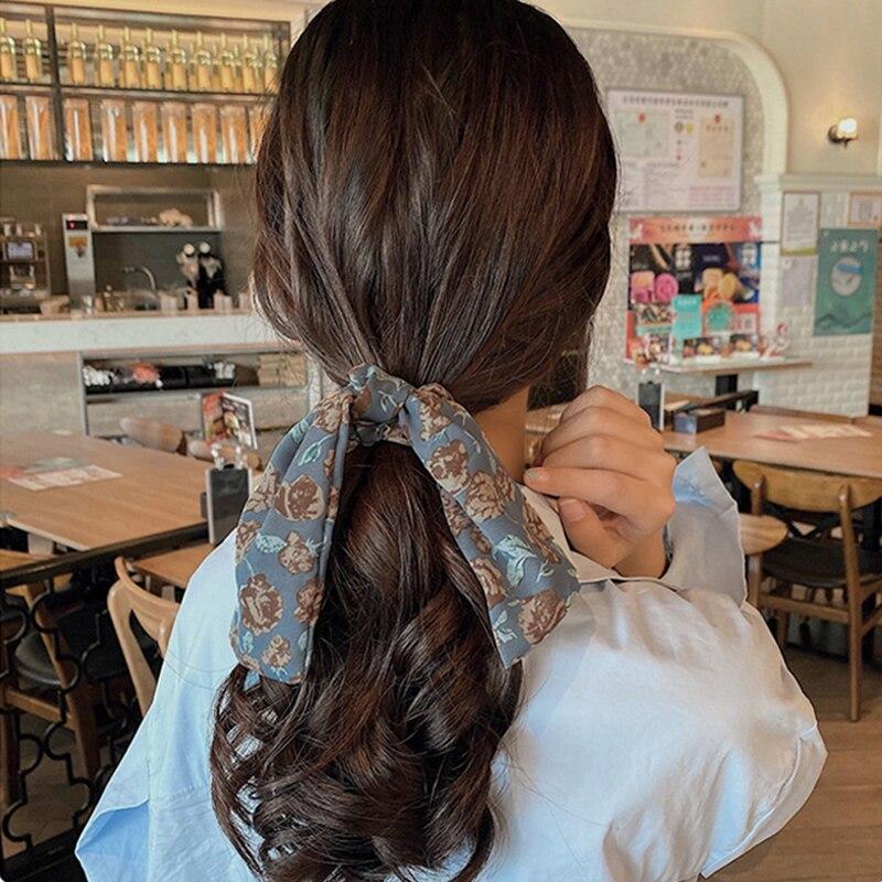 5 pçs cabelo scrunchies cachecóis vintage floral