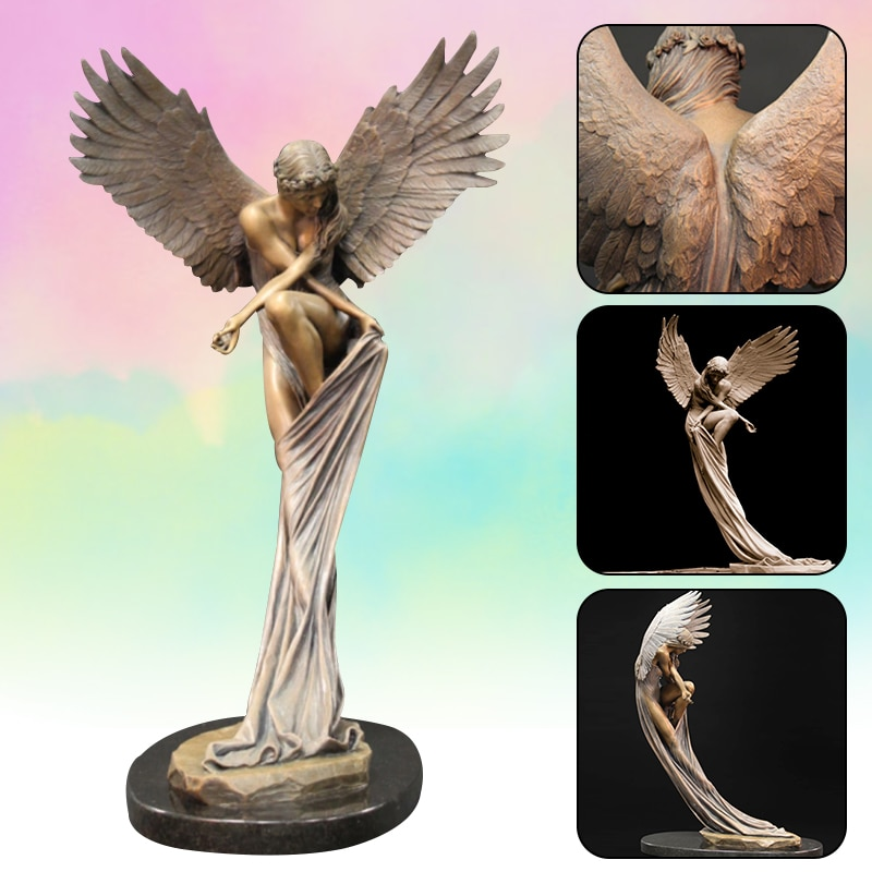 11 Inch Resin Remembrance Angel Figurines Redemption Angel Creative Sculpture 2021 New 3D Garden Angel Statue Creative Standing Home Decor Art Ornaments