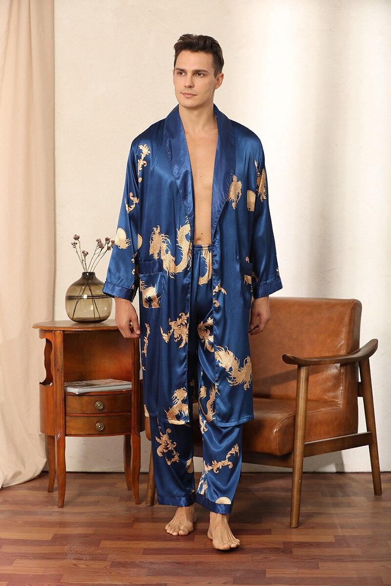 Conjunto de pijama de manga comprida imitação