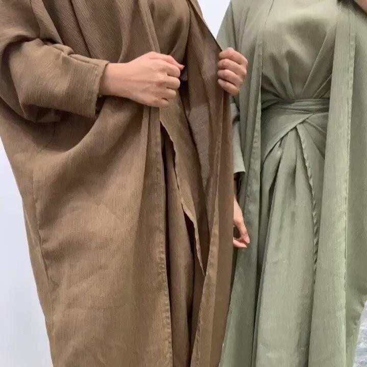 Cor sólida abayas para mulher dubai abaya