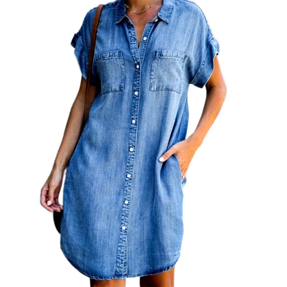 Women Short Sleeve Pockets Single-breasted Irregular Hem Knee-length Loose Dress Polyester Women Summer Dress Lady Dress