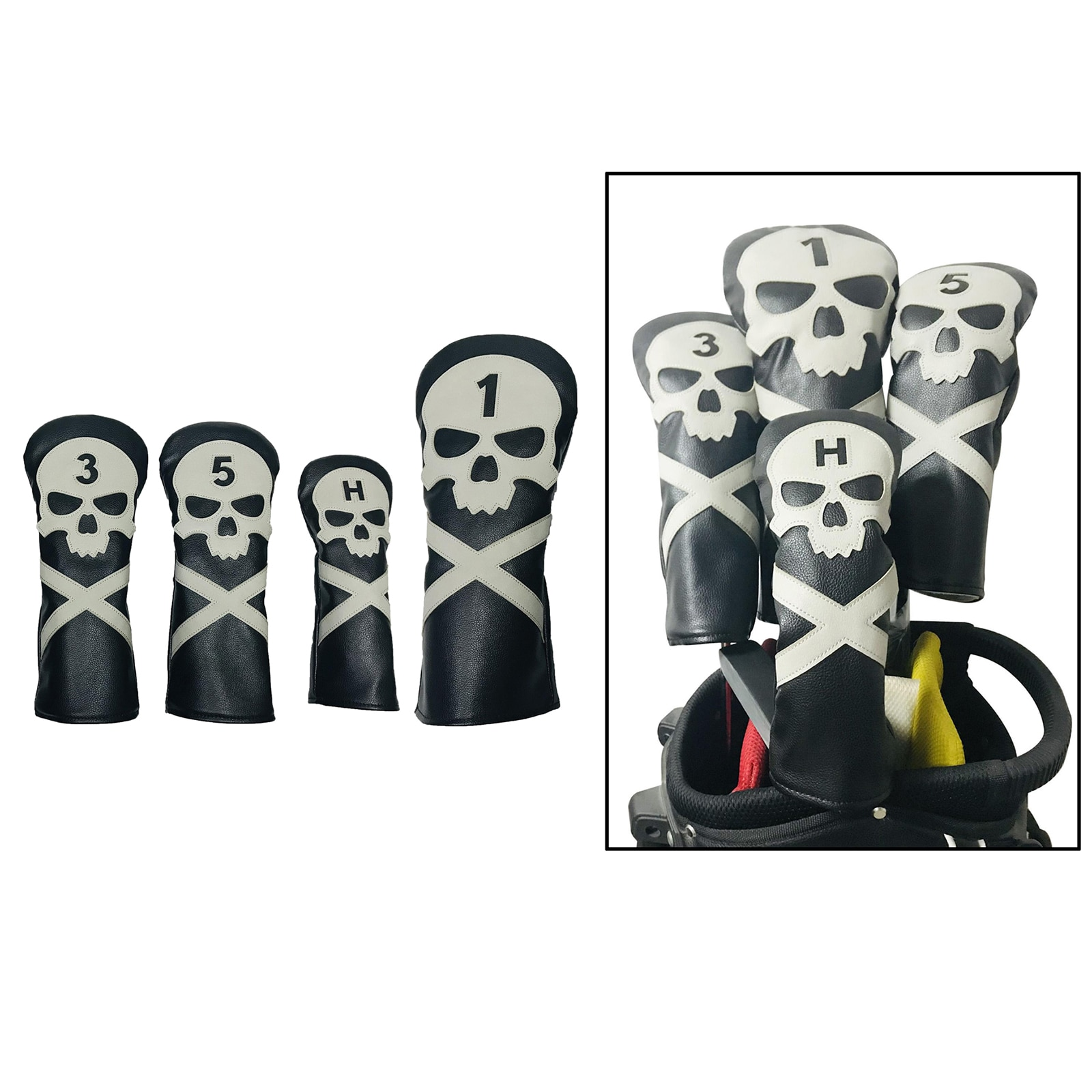 4 Pieces PU Leather Skull Printed Golf Wood Head Cover Golf Club PU Leather Headcovers Fit Driver Fairway Wood Hybrid