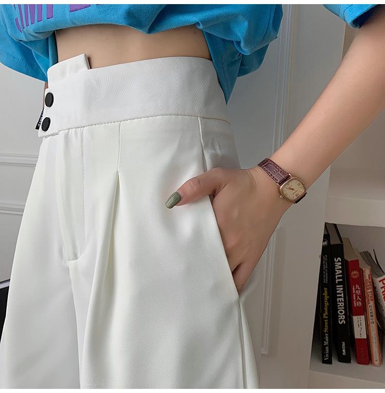 H367eaa0eb7fb48eda48d03e843c3656dN - Summer Korean High Waist buttons Loose White Shorts