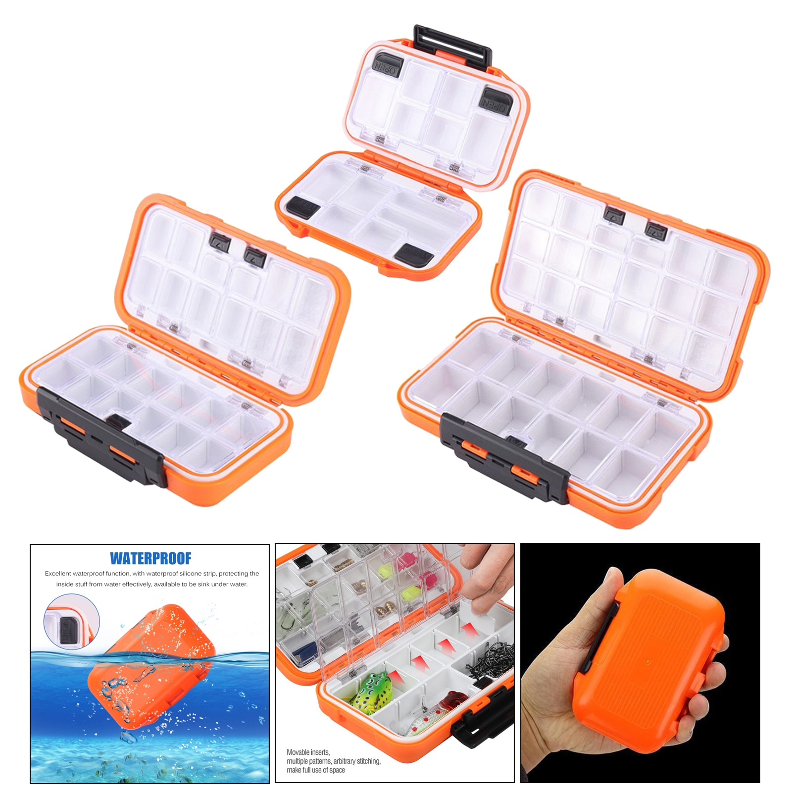 Sealed Waterproof Fishing Tackle Tray ABS Plastic Swivel Snap Lure Storage Box