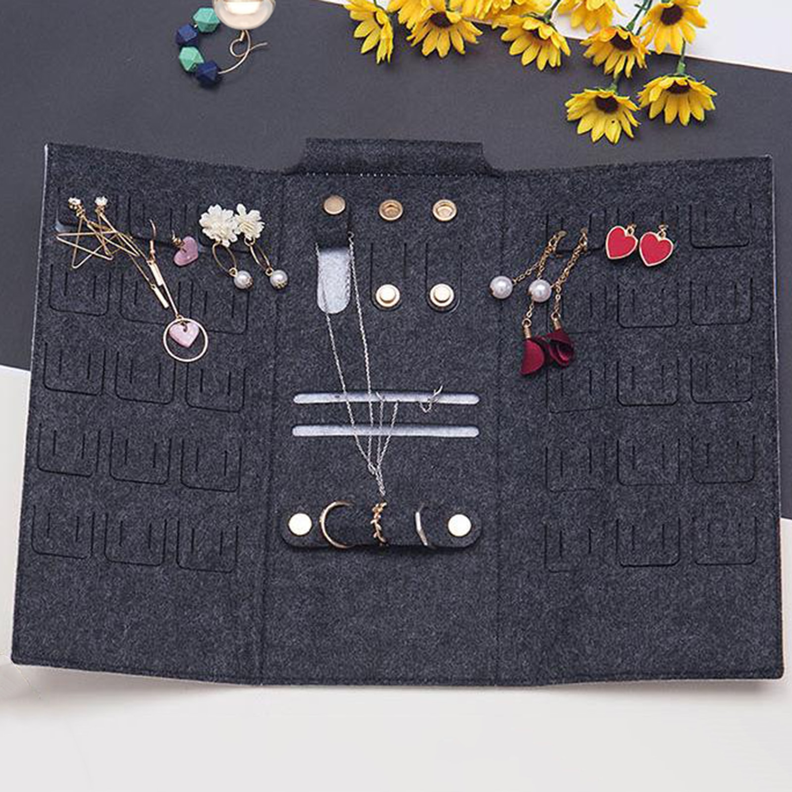Organizer Secure Roll Jewelry Storage Bag for Travel Multiple Earrings
