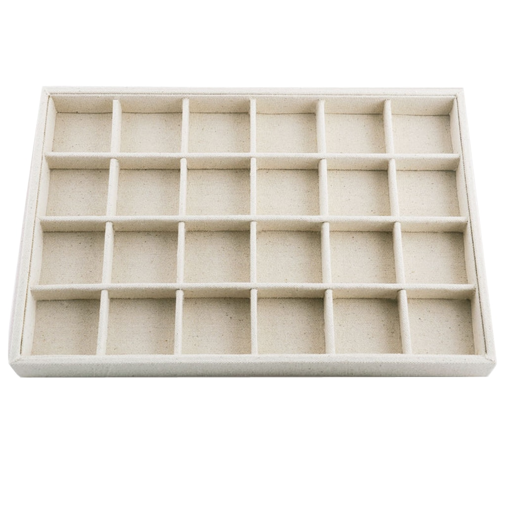 Elegant Velvet Stackable Jewelry Display Tray Case Holder Organizers Linen Stackable Necklace Showcase Ring Display Organizer