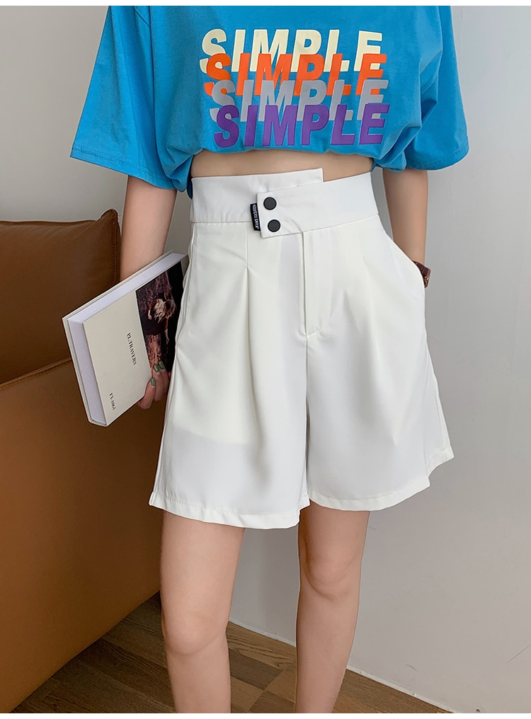 H40c7ac01a6784c40a7846ef1dc6cf068G - Summer Korean High Waist buttons Loose White Shorts