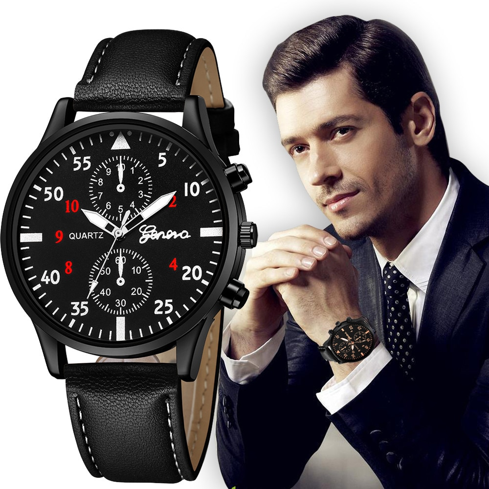 Leather 2021 Quartz Beautifull Watch For Men Black Clock