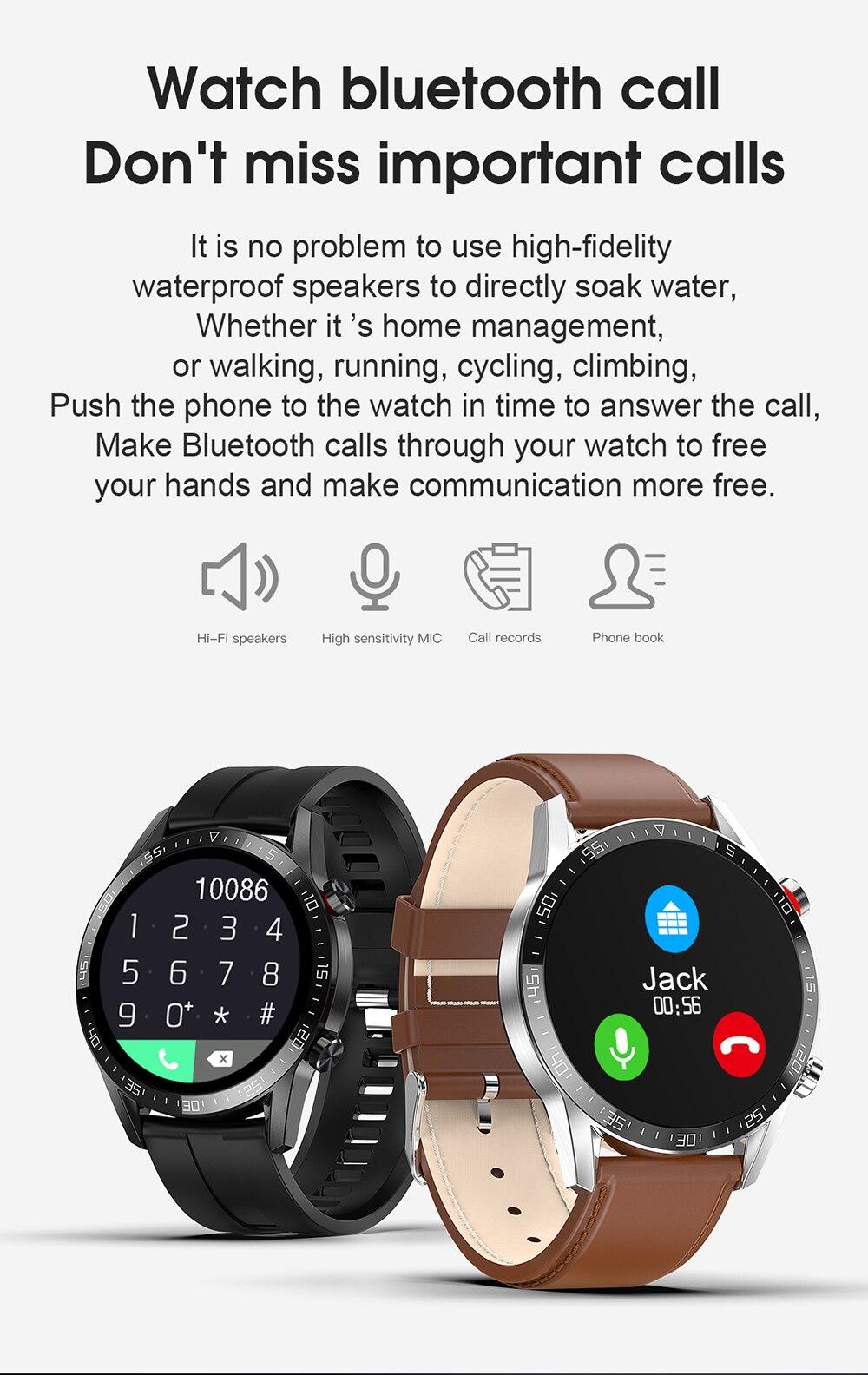 L13 negócios relógio inteligente homem bluetooth chamada