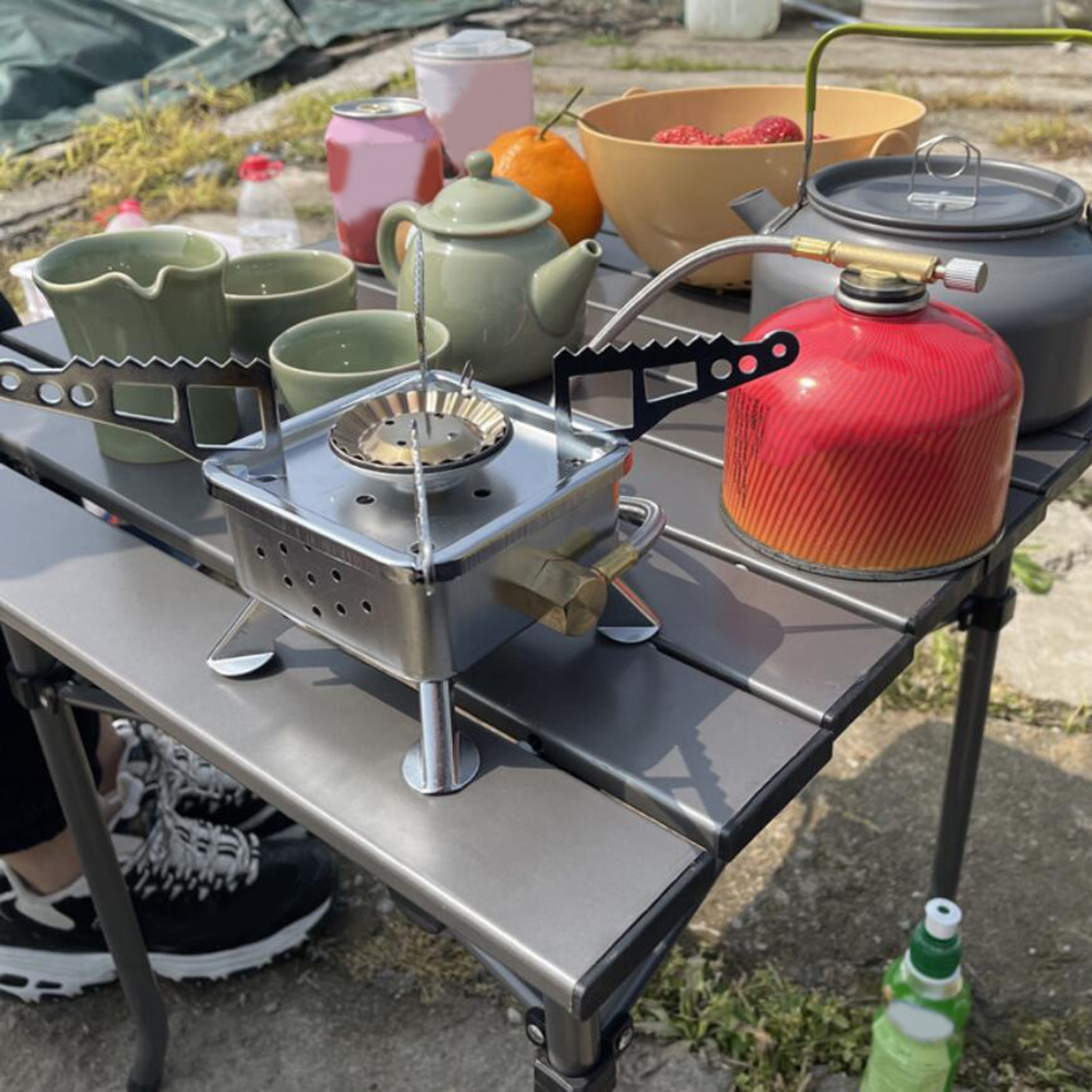Portable Gas Stove Burner Camping Butane Propane Burner Cooker Picnic BBQ Grill Cooker Outdoor Hiking Windproof Backpacking