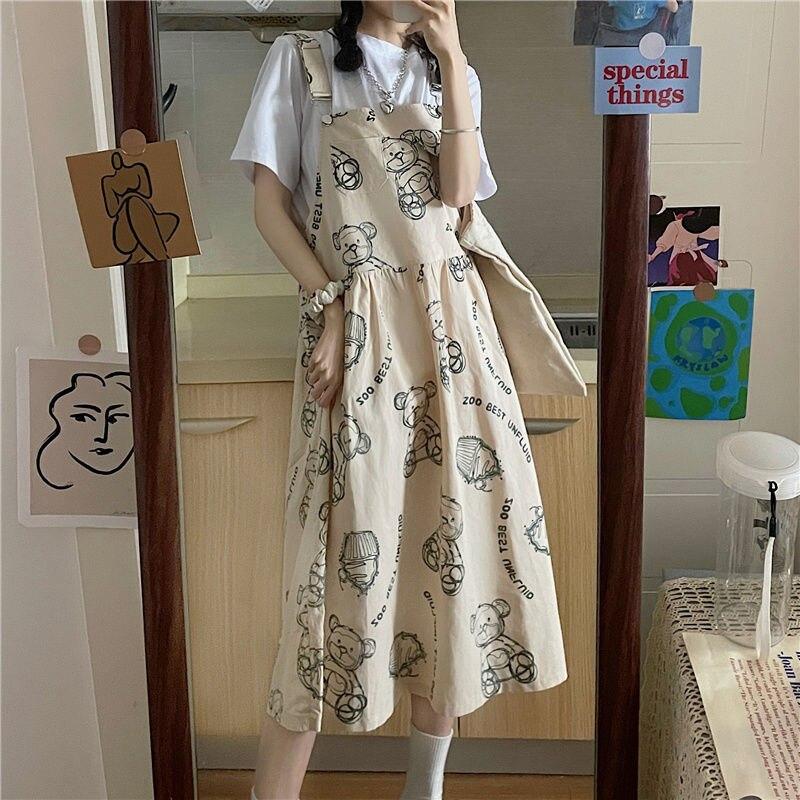 Summer dresses women kawaii bear workwear strap dress suit female short-sleeved shirt preppy style vintage harajuku dress