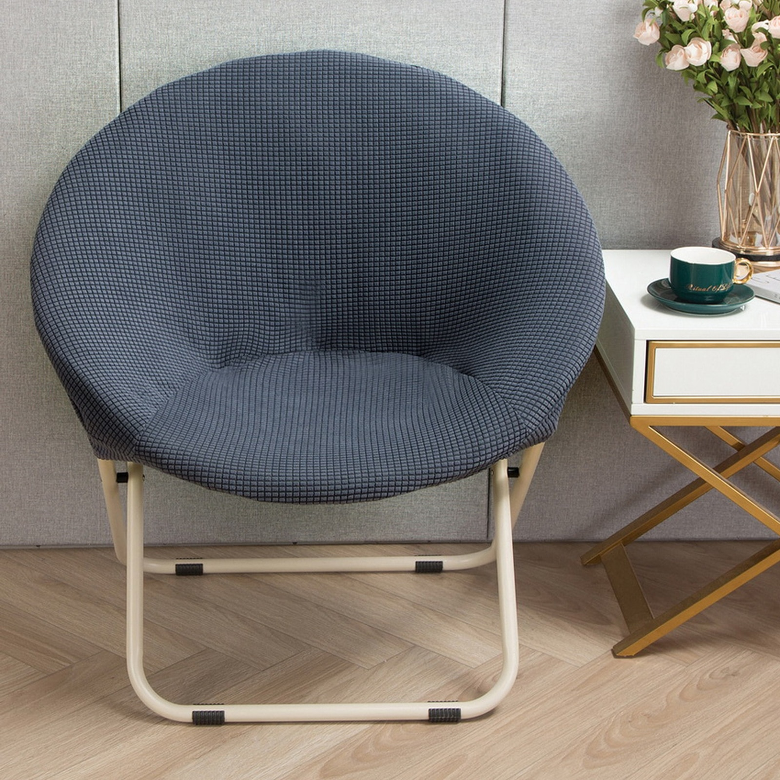 Super Soft Jacquard Saucer Chair Slipcover Stretchable Removable Polyester Moon Chair Cover Home Hotel Washable