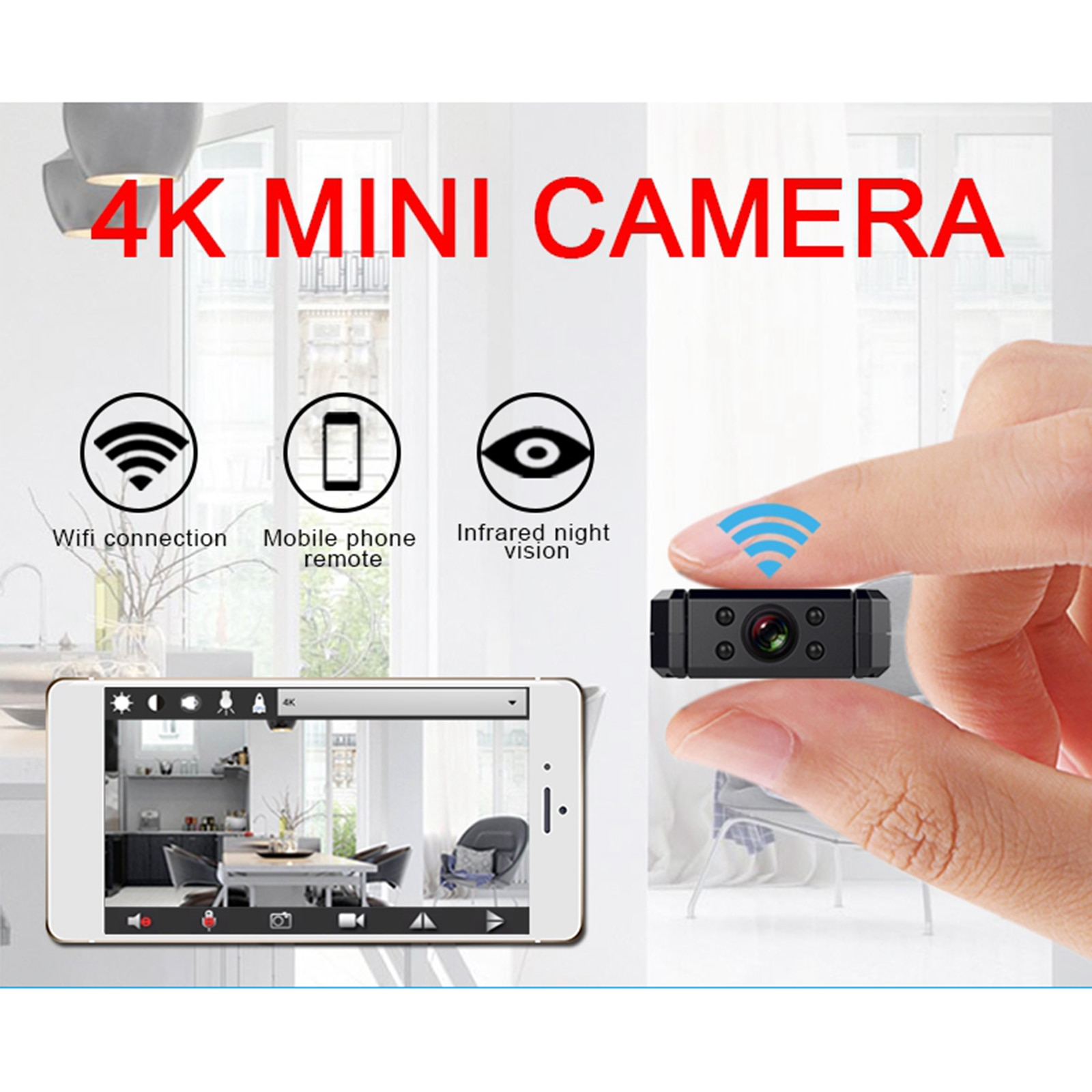 Mini Home Security Camera FHD WiFi Small Camcorder Night Vision Wide View Angle