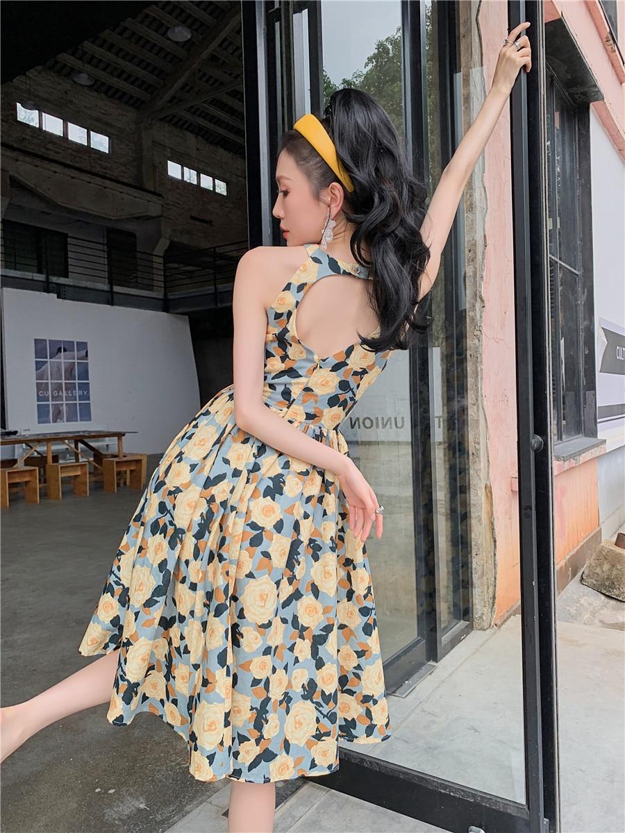 H5309253150ab4b9fabe7a54c35555911V - Summer Korean Sleeveless Cotton Linen Open Back Floral Print A-Line Midi Dress