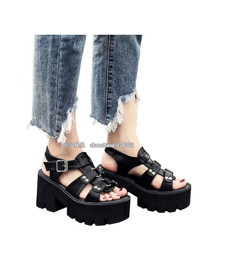 alto sandálias femininas verão harajuku grosso inferior