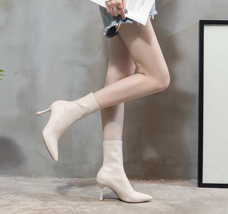 brancas saltos altos apontou-dedo do pé sapatos