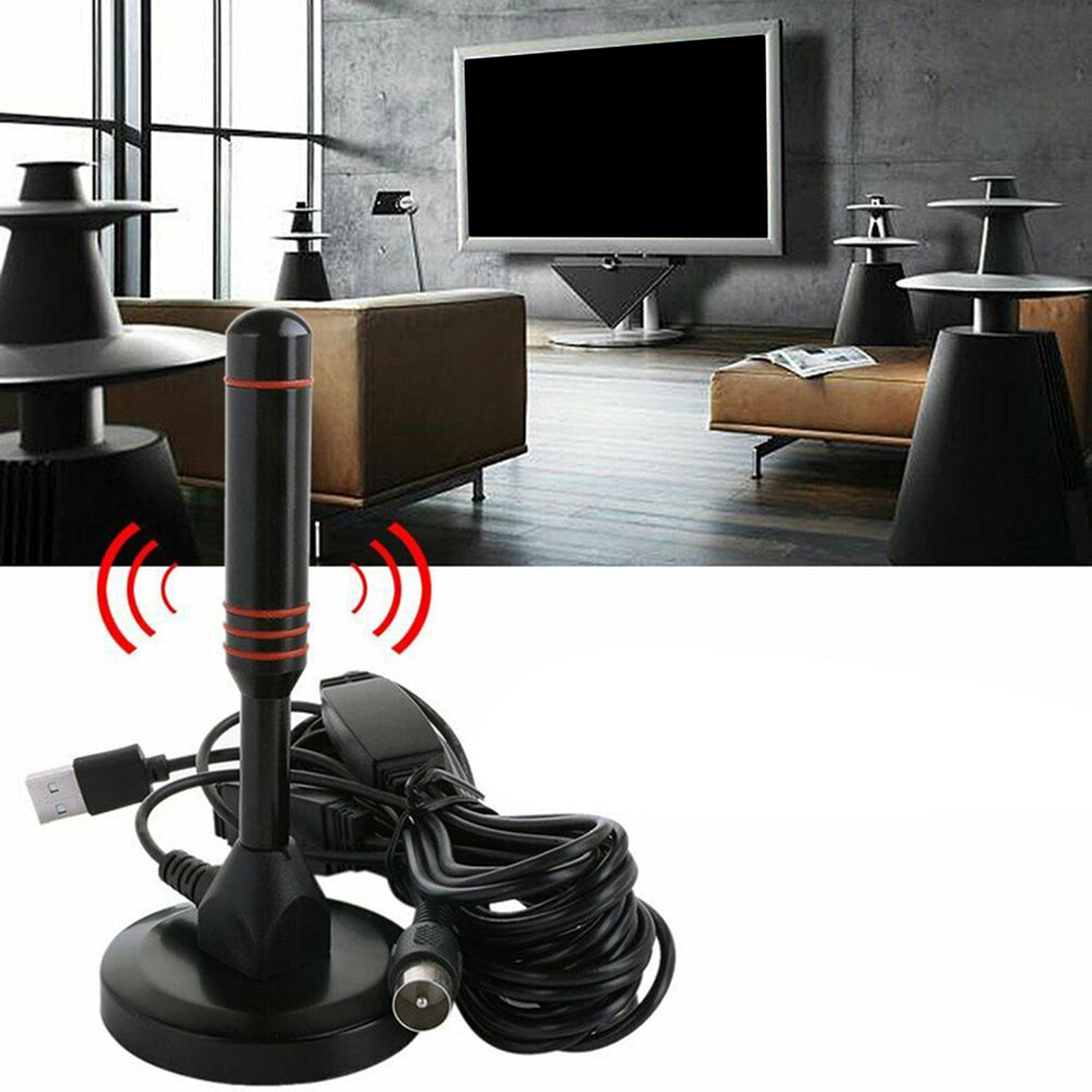 Long 200 Miles Range TV Antenna with Amplifier ATSC/DMB-T/ISDB-T for Tuner VHF/UHF Local Channels