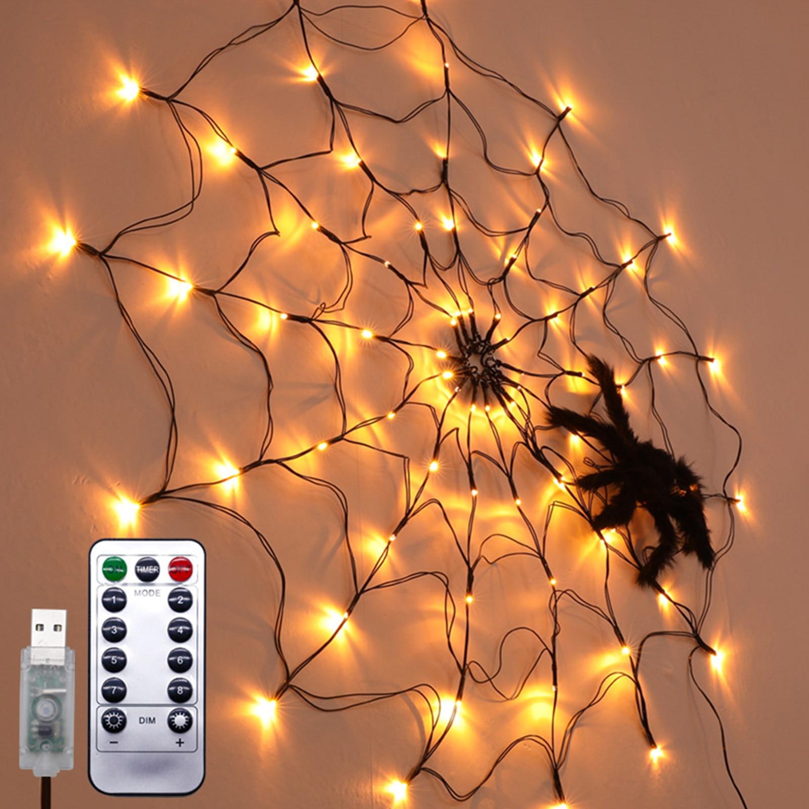 Led aranha web luz halloween árvore cerca