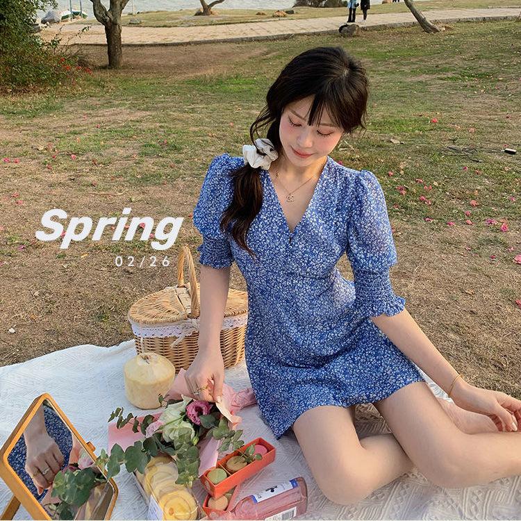 2021 Summer Sweet Elegant Dress Women V-Neck Short Sleeve Kawaii Mini Dress Chiffon Beach One Piece Dress Korean Floral Design