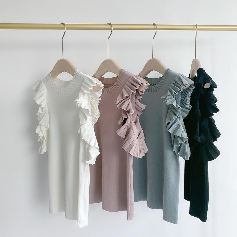 Kuzuwata Japanese Sweet Shirts Knitting Solid Off Shoulder Ruffles Folds Blouses 2021 Spring Autumn Temperament Women Tops