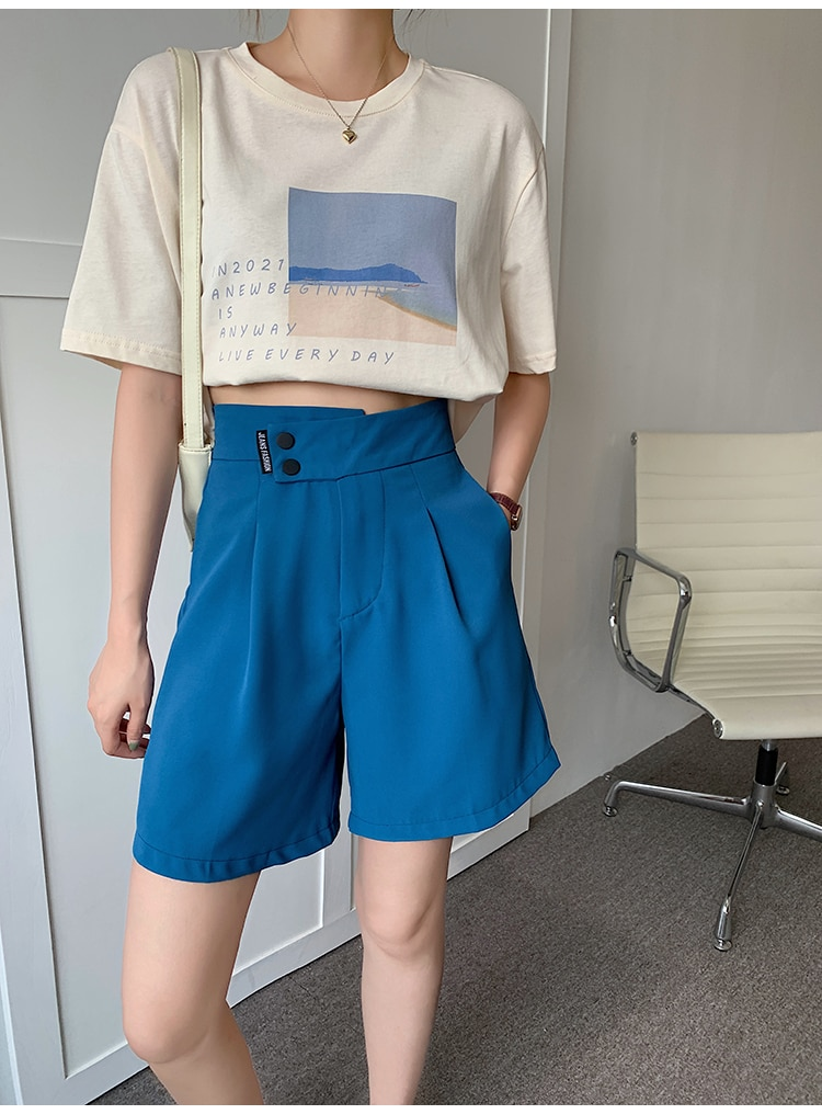 H6b64334b0f094b1da16c6ec4a1c44a087 - Summer Korean High Waist buttons Loose White Shorts