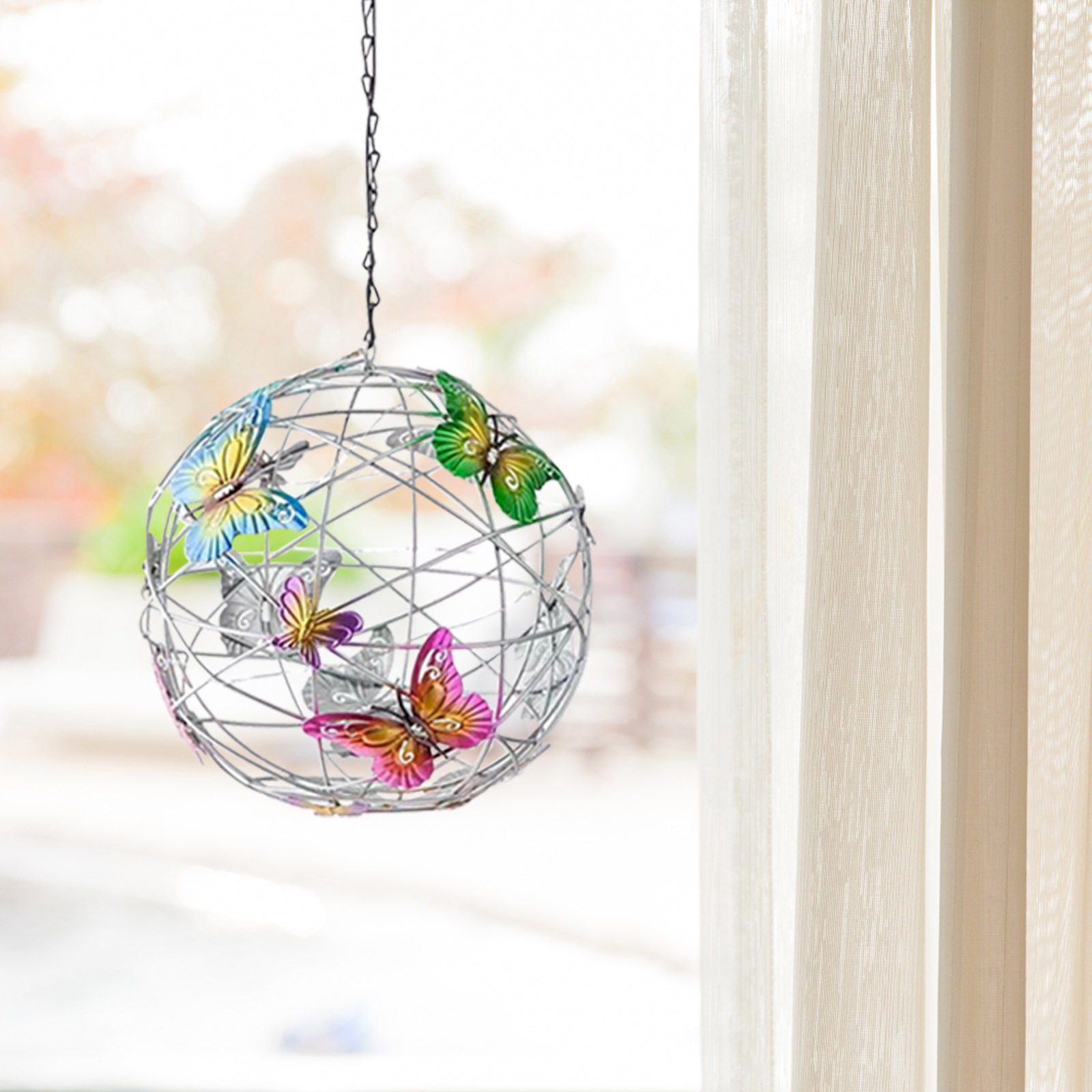 Solar Lighted Hanging Mesh Orb With Colorful Butterflies