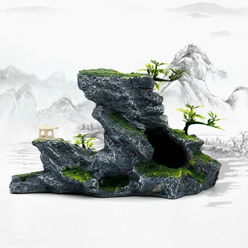 Resina rockery aquarium acessórios de decoração artificial mountain hill view rock 50jd
