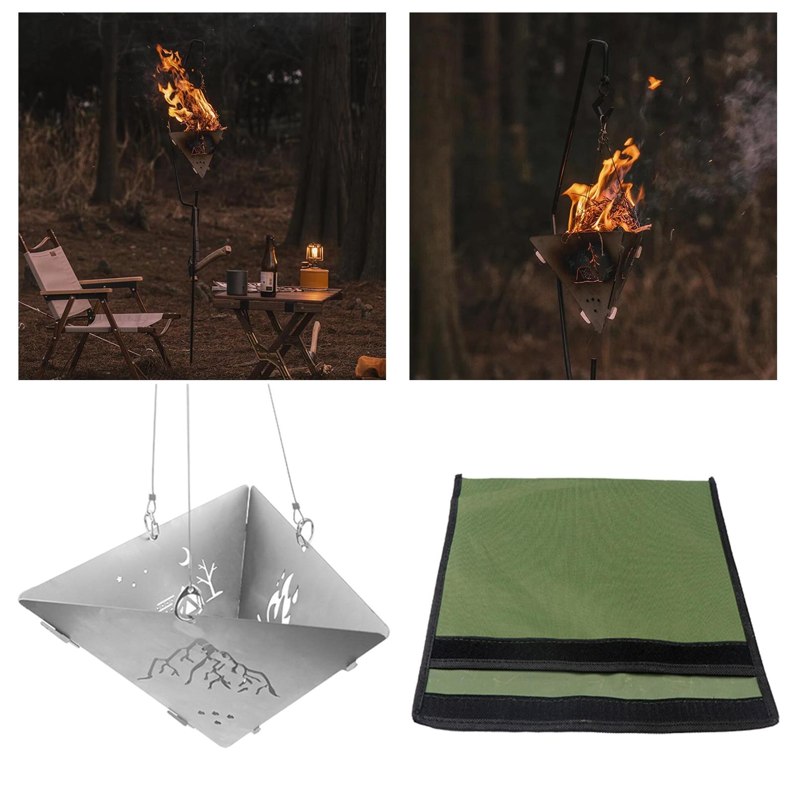 Queima de madeira acampamento fogão triângulo fogueira