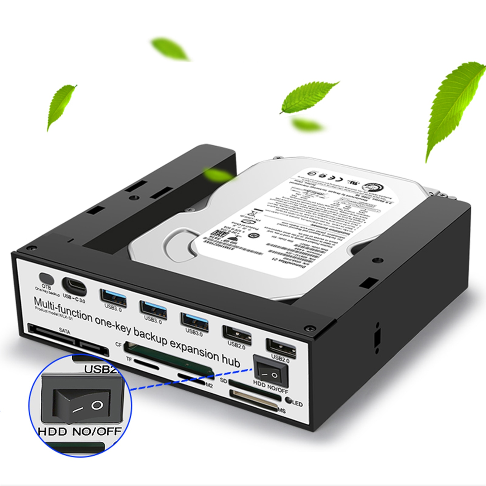 Hard Drive Disk Enclosure for 2.5 or 3.5 inch HDD Data Backup for Desktop PC Type-C USB 3.0 / 2.0 15pin SATA 1.5Gbps Card Reader