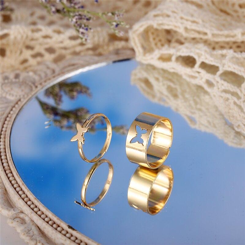 Anéis de borboleta de ouro na moda para mulheres masculino amante casal anéis conjunto amizade noivado casamento aberto anéis 2021 jóias