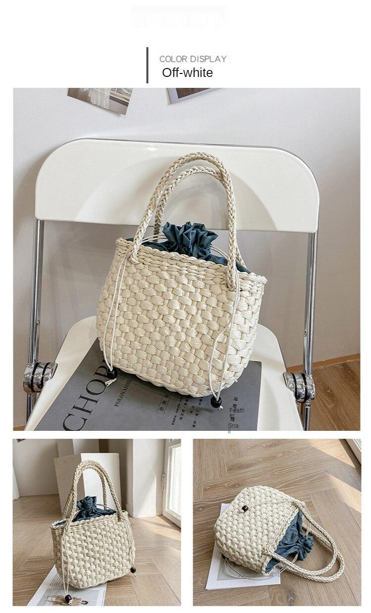 Mini Korean Style Straw Bucket Bag for Summer 2021