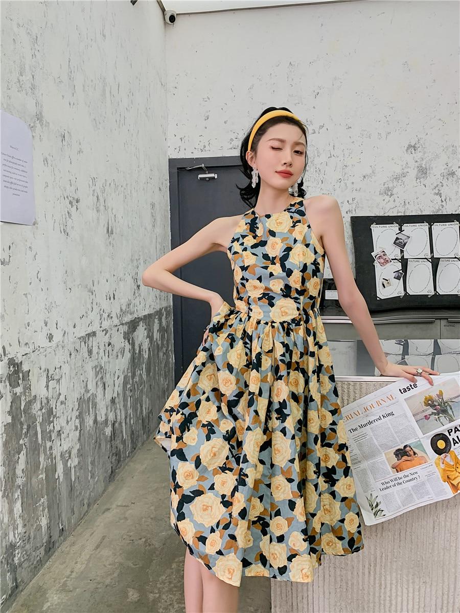 H841195a4b338400a8a02d9e9164eda3fA - Summer Korean Sleeveless Cotton Linen Open Back Floral Print A-Line Midi Dress