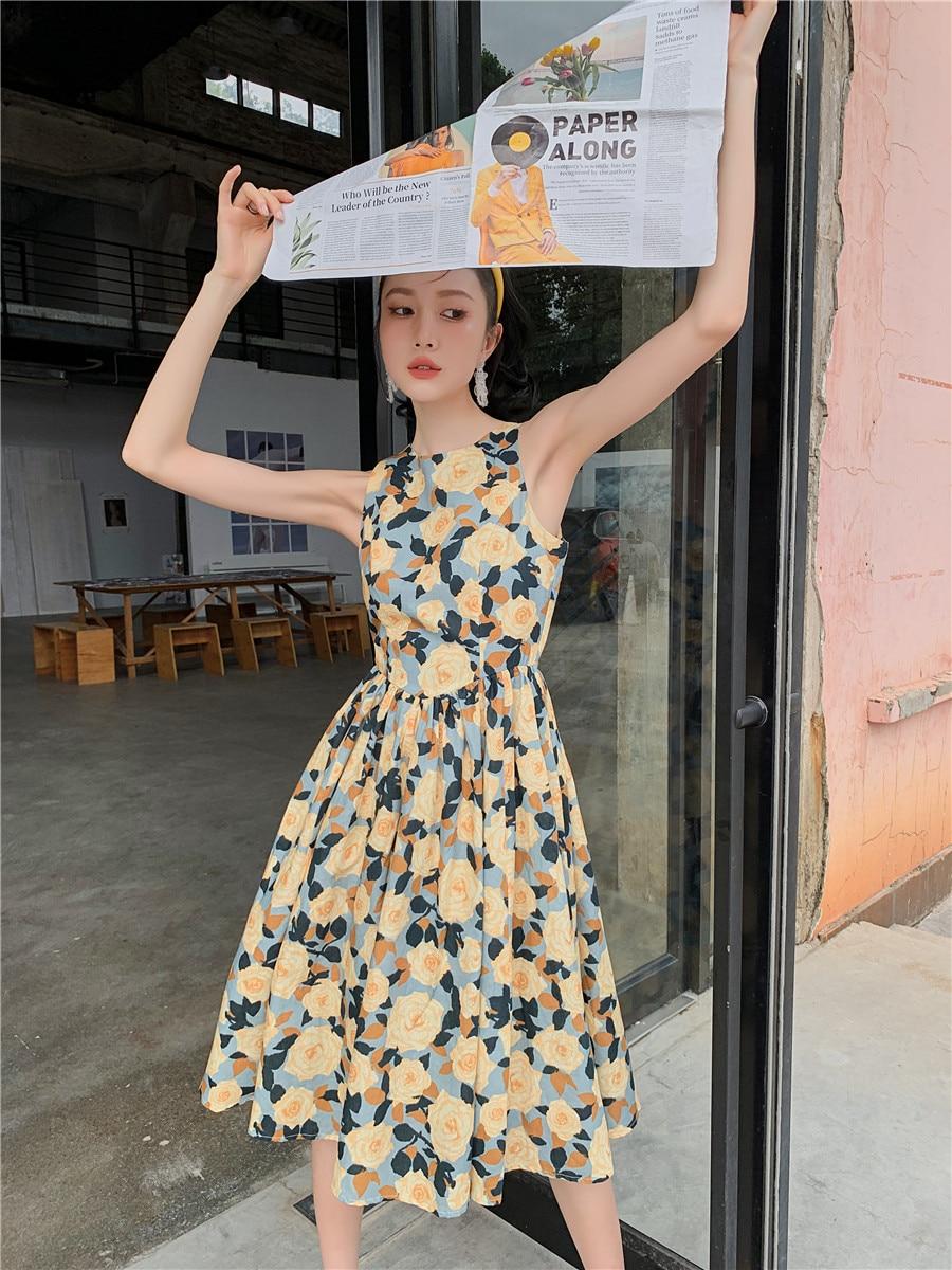 H8c655da233f94ac49c5e703e0530a349r - Summer Korean Sleeveless Cotton Linen Open Back Floral Print A-Line Midi Dress