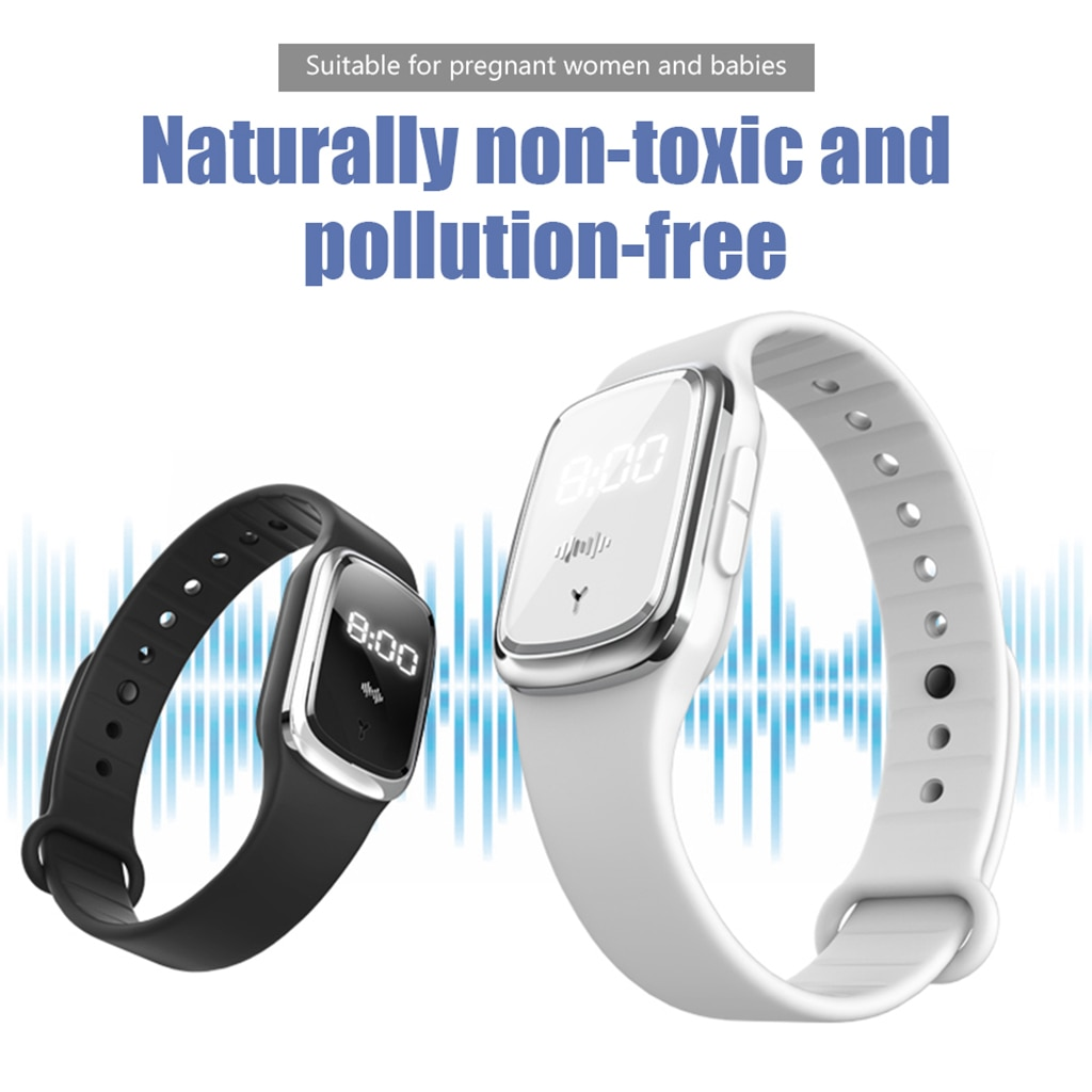 Outdoor Anti Mosquito Bracelet Ultrasonic Mosquito Repellent Wristband Natural Non-toxic for Kids Baby Pregnant Woman