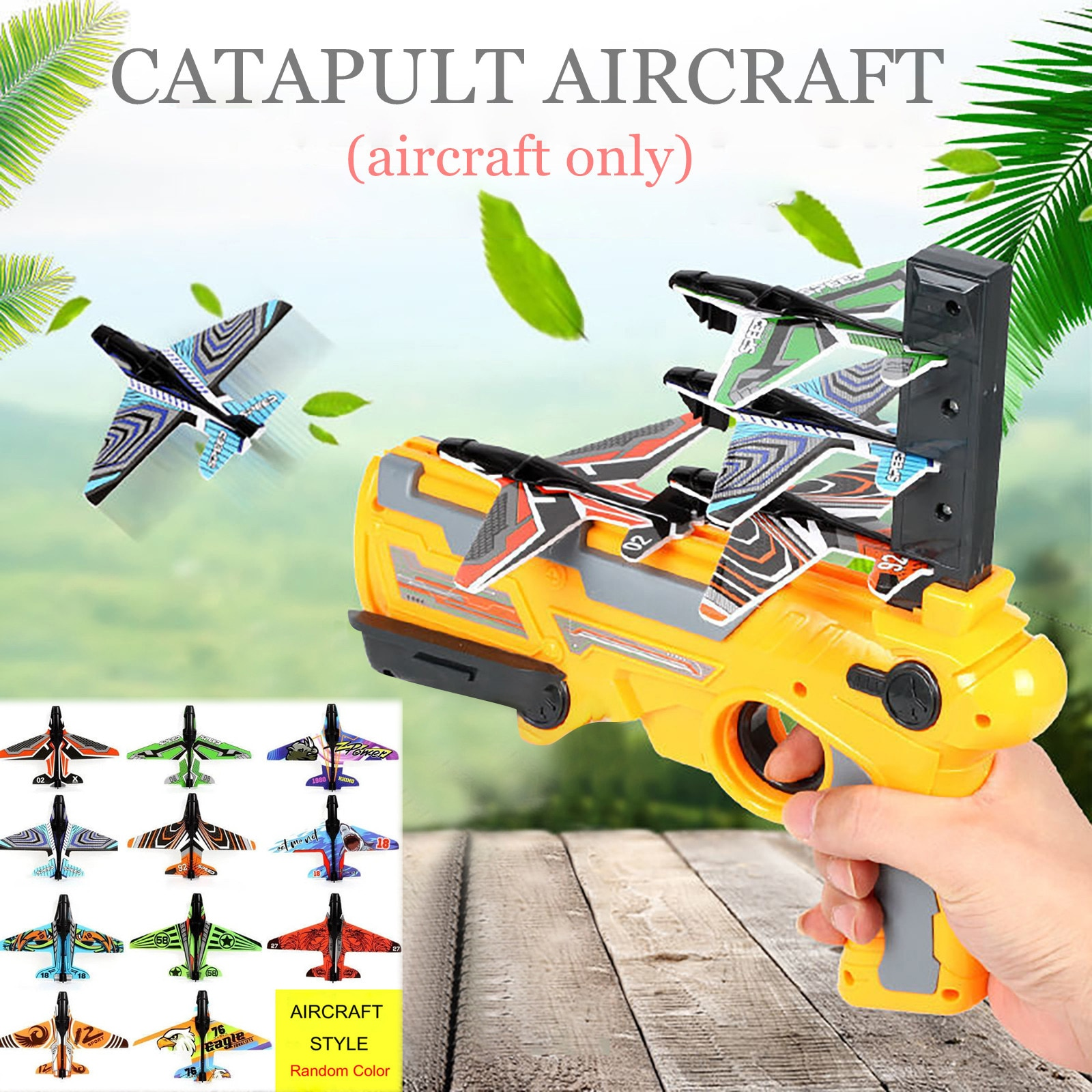 Blue One-Click Ejection Model Foam Airplane with 4 Pcs Glider Airplane Launcher Bubble Catapult Plane Toy Airplane Fun Outdoor Sport Toys Gifts Shooting Game Toy for Kids