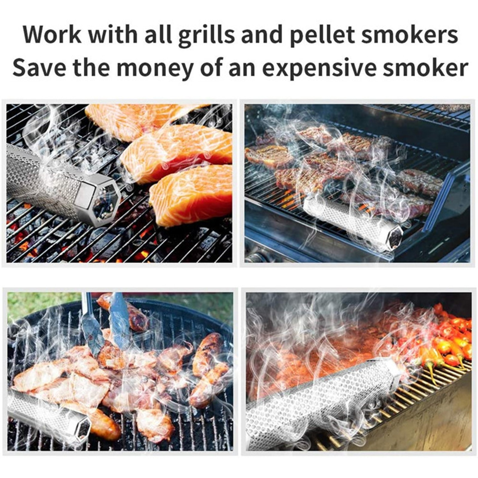 12inch Pellet Grill Smoker Tube BBQ Wood Pellet Smoking Box Grilling Meat